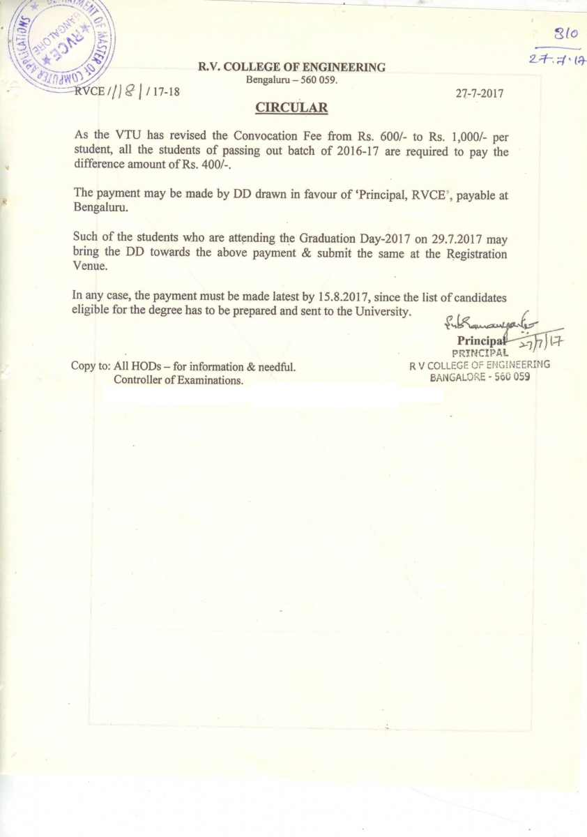Infrastructure committee r v college of engineering vtu revised the convocation fee 2017 altavistaventures Images